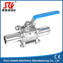 Low price 2inch 3 piece stainless steel Weld full port ball valve, PTFE seat