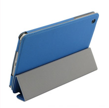Three Fold Blue PU Leather Full Protective Tablet Case for Ipad Mini 2 3 4