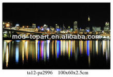Prosperous City Nocturne canvas printings wall art ,frame art with led canvas
