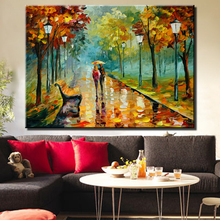 European Style Designs Landscape Home Decor Knife Street Scenery Canvas Fabric Oil Painting