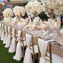 Wholesale Cheap New Design White Pleated Ruffled Rosette Polyester Spandex Chiffon Wedding Chiavari Banquet Chair Cover for Sale