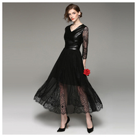 hot sale Black Leather Overlay Lace sexy mature Maxi women clothing dress