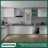 Factory wholesale cheap price modular UV kitchen designs with glass doors