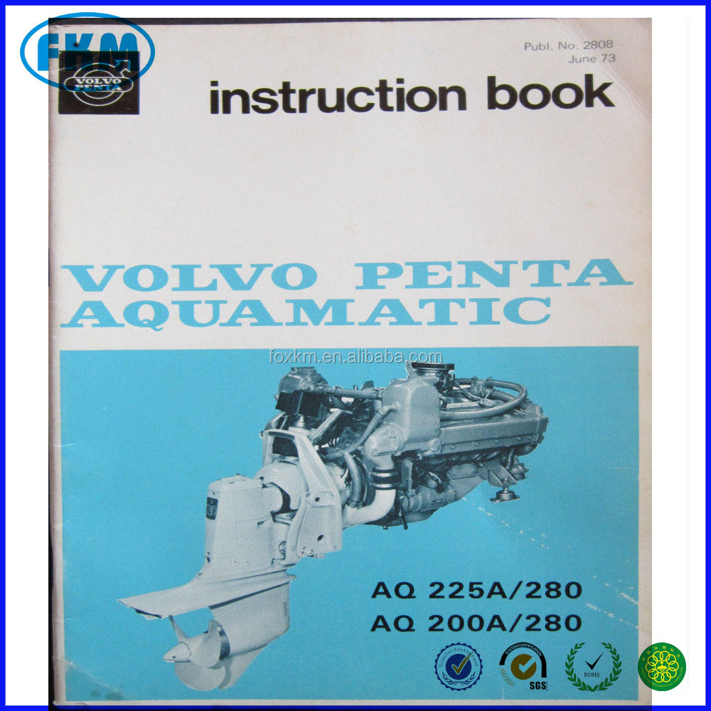 Volvo Penta Manual Instruction Book Aquamatic AQ225A AQ200A 280