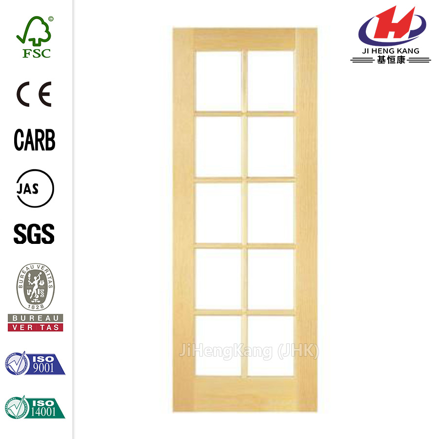 30 in. x 80 in. Smooth 10-Lite French Solid Core Unfinished Pine Interior Door Slab