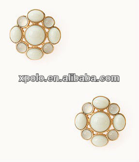 2013 Newest crystal stone ball embraced with pearl flower stud earrings