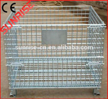 Euro stacking collapsible folded steel wire mesh pallet cage with wooden