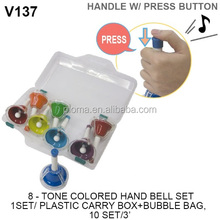 8 tones music hand bells toy, colorful music bells toy