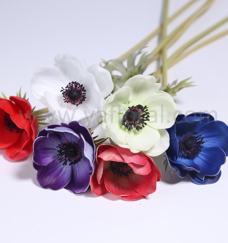 White ivory flower real touch scented artificial flower anemone for wedding