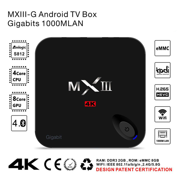 1Chip andoid tv box 5G-Wifi 4K H.265 XBMC KODI Fully Loaded 2G/16G MXIII-G Android 5.1 Amlogic S812 xnxx mxiii-g 4k hd tv box