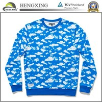 Custom all over cloud sublimation print sweater shirt