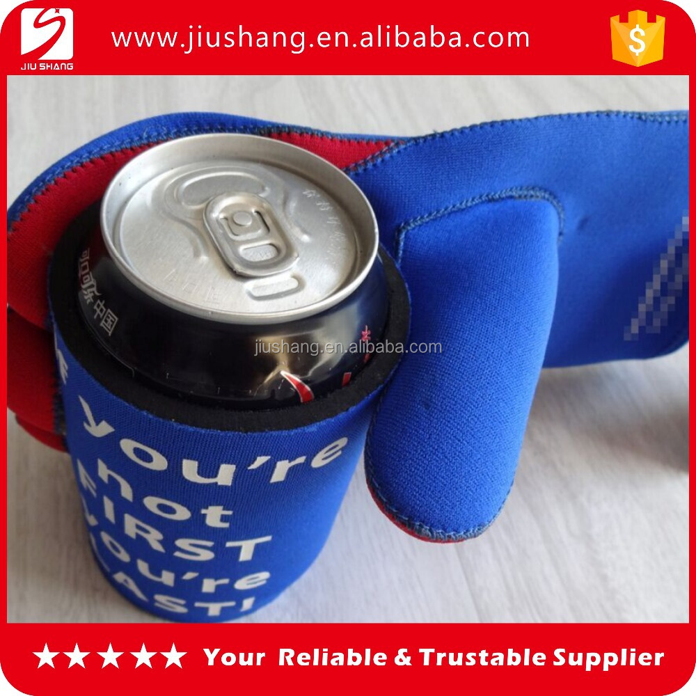 Custom design neoprene glove set beer can holder