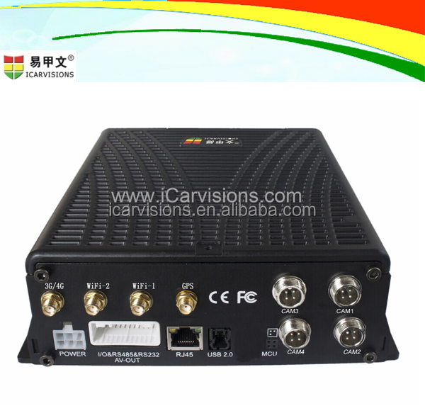 2017 Best Video Vehicle Tracking System, 4CH HDD Mobile DVR with full functions WIFI G-Sensor GPS 3G 4G