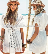 Clothing bestdress apparel Summer women long tops walson White CROCHET Beach COVER UP Bohemian Gauzey Sheer Kimono Tunic Blouse