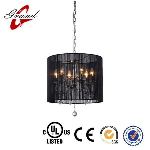 Indoor Hanging drop lamp black threaded silk lamp shade light/ new pendant light