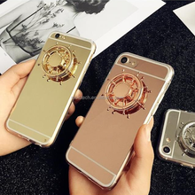 In Stock New Mirror Gold Makeup Mobile Phone Case with Fidget Gyro Spinner For Apple & Samsung China Factory Quick Delivery