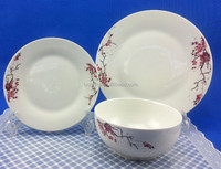 hot sale wholesale ceramic dinnerware wintersweet porcelain soup bowl and flat plate