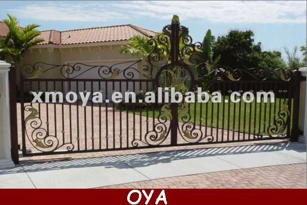 Main entrance sliding iron pipe gate designs