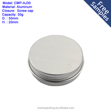 empty round 30ml aluminum screw tins 30g cosmetic tin can container