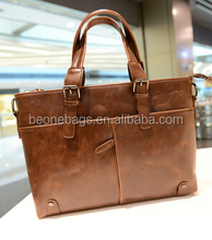 Hotsale Fashion Design Brown Leather Breifcase computer document hand bag