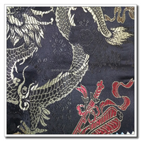 Oriental Golden Dragon Design Metallic Black Brocade Fabric