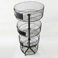 4 tier round basket metal display rack