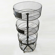 4 tier round basket metal display rack