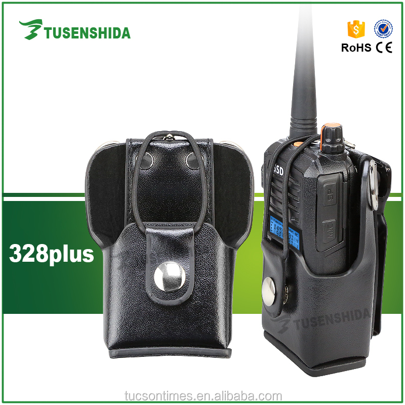 Black multi-function leather carrying case for two way radio 328plus