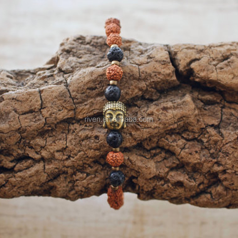 SN0850 Set of 3 Volcanic Lava bracelet for men 8mm Rudraksha Mala Bracelets Bronze Buddha Jewelry set