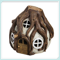 Forest solar lighted miniature fairy house