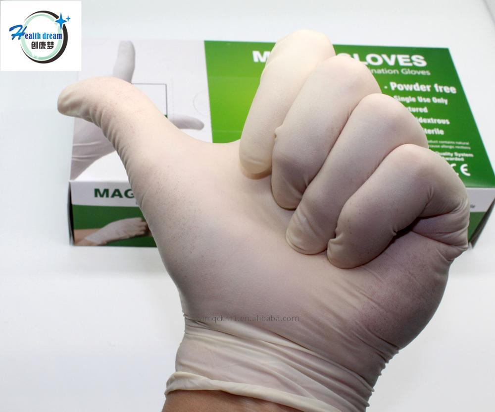 Best sale exam latex gloves powdered disposable surgical natural for construction machinery
