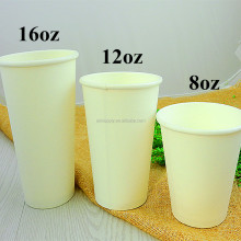 8oz, 12oz, 16oz White Disposable Single Wall Hot Drinks Coffee Paper Cups with Lid