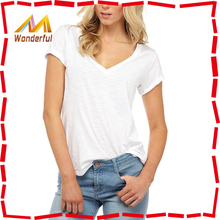 2016 v neck wholesale t shirts China Manufacturer Factory Direct Wholesale Cheap Woman v-neck white t-shirts wholesale