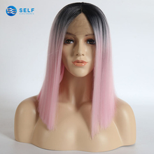 Hot selling Euramerican topper long heat resistant synthetic hair lace front pink ombre wig