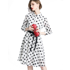 4eed4dc4175 Wholesale in Stock M to XXL Black and White Dots Print Elegant Button Lace  Dress