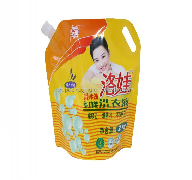 2KGS waterproof detergent customized liquid stand up pouch with spout