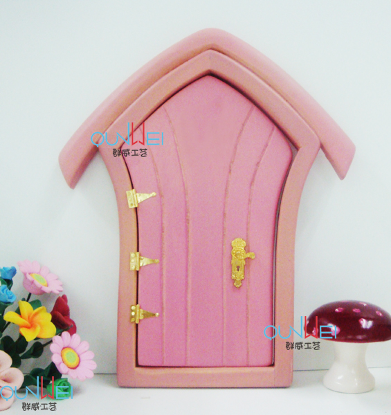 Dollhouse miniature furniture mini fairy colorful door with handware open outward