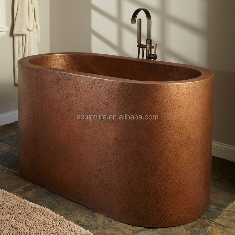 the Granite hand hammered copper bath tub with optional carve design