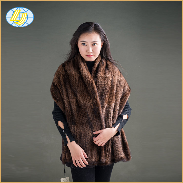 wholesale lovely Chinese mink fur long borwn <strong>muffler</strong> fur shawl