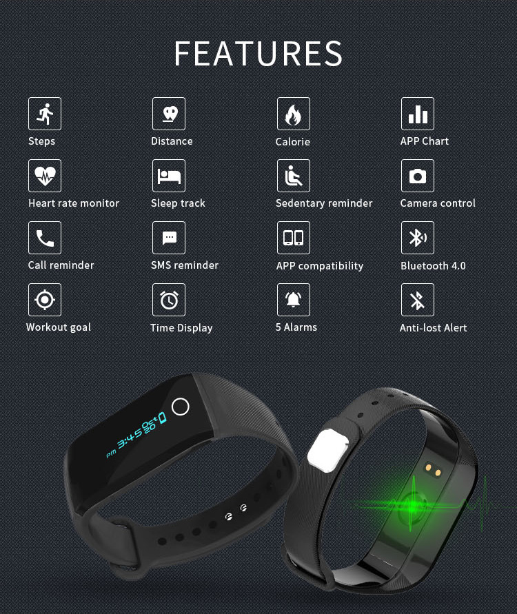 Accurate Heart Rate Monitor Bluetooth Programmable Bracelet
