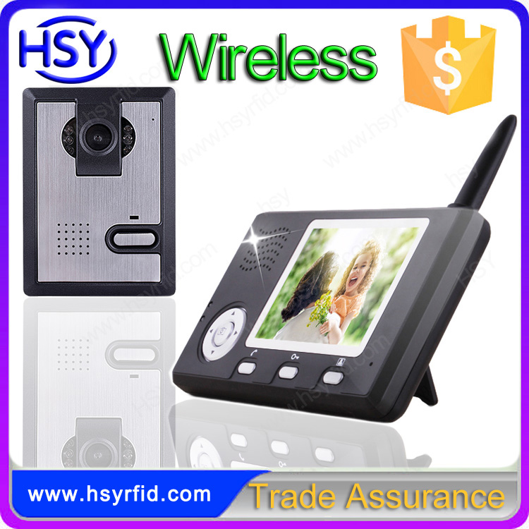 Li-Ion battery 2.45Ghz CMOS camera high quality video door phone mini USB interface wireless intercom for buildings