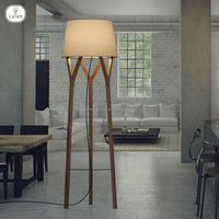 Caren European modern wood with white fabric shade living room floor lamp