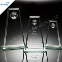 Promotional Business Souvenirs White Glass Award Trophy With Half Golf Ball On Top