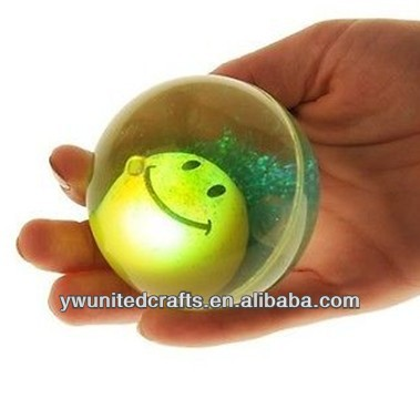 "OEM High Quality 2.5"" Super Ball/High Bounce LED/Light UP Smiley Face Water Balls"