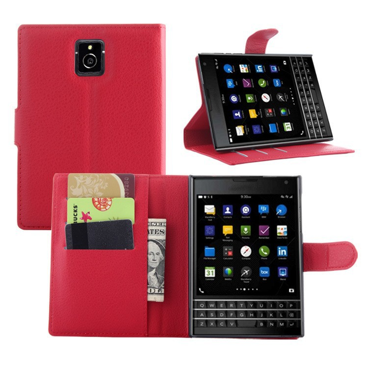 Litchee Pattern PU Leather Stand Wallet Case for BlackBerry PASSPORT Q30 Red Color Q30 protective Case