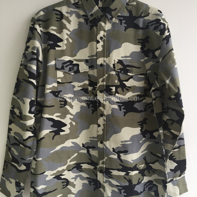 men's camouflage printed shirt, double chest pocket 2017S-