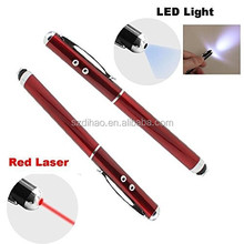 DIHAO 4 in 1 multi-function metal stylus pen with LED torch light laser point screen touch and ball pen