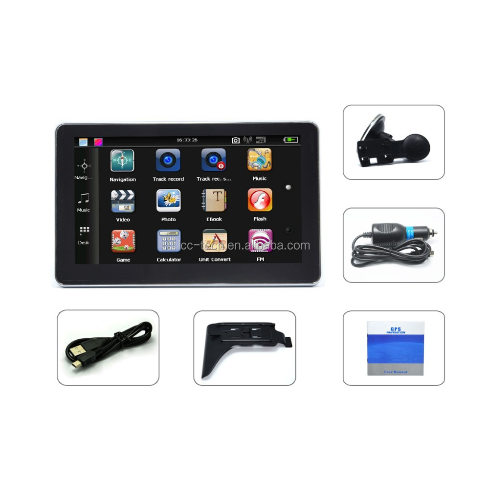 SAT NAV L321B 7 inch promotional MT3351 GPS HD screen 800*480 128M+4G with AV In function free map
