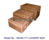 Cheap Rattan Laundry Box In Set (Small + Medium + Big) With Lid For Home Indoor Furniture Use As Storage