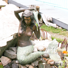 Hot Sale Life Size outdoor Bronze mermaid water fountain